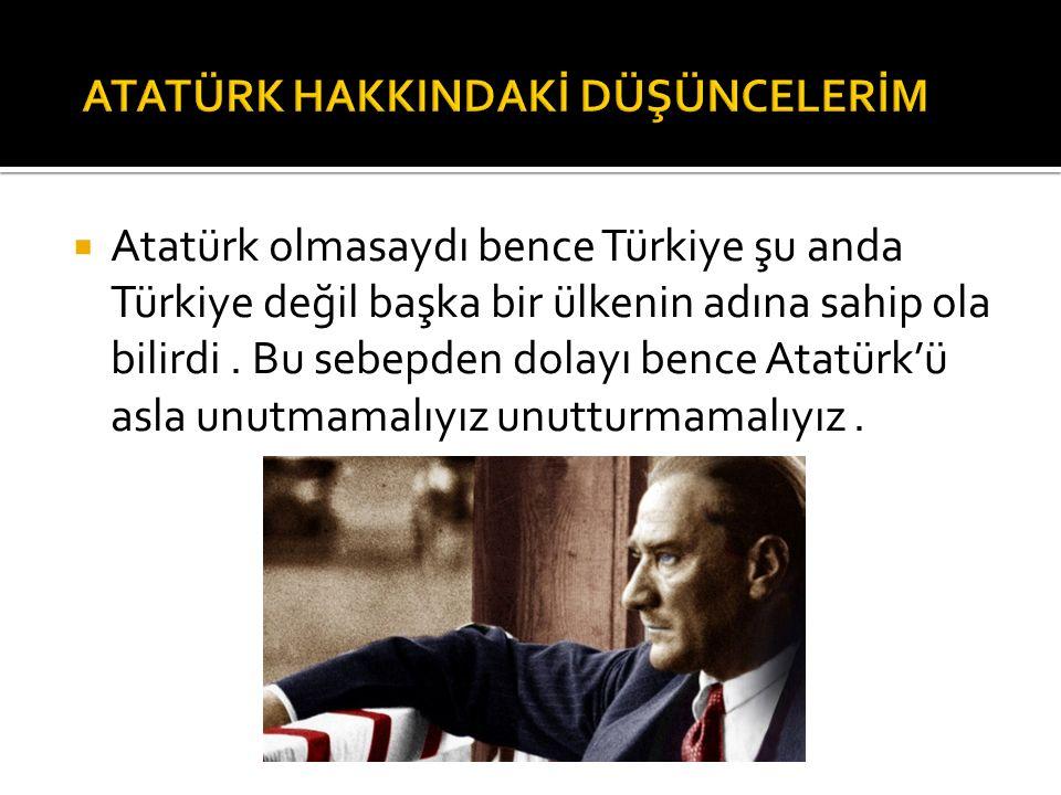 Atatürk Türkiye'yi bir kez değil bir kaç kez kurtardı ve cumhuriyeti ilan ederek tüm Türkleri özgür ve Türkiye egemenliğini ilan etti.