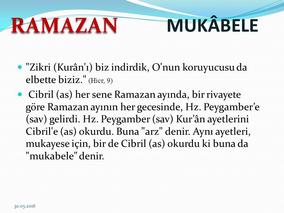 MUKÂBELE Zikri (Kurân ı) biz indirdik, O nun koruyucusu da elbette biziz. (Hicr, 9) Cibril (as) her sene Ramazan ayında, bir rivayete göre Ramazan ayının her gecesinde, Hz.