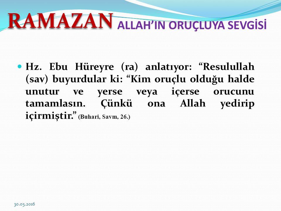 ALLAH'IN ORUÇLUYA SEVGİSİ Hz.