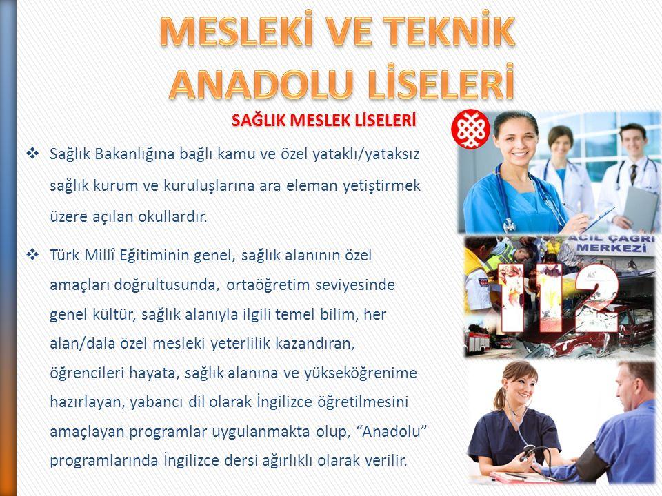  Sağlık Bakanlığına bağlı kamu ve özel yataklı/yataksız sağlık kurum ve kuruluşlarına ara eleman yetiştirmek üzere açılan okullardır.