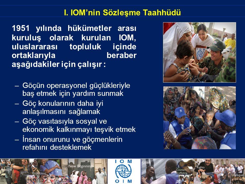 I. IOM'nin Sözleşme Taahhüdü 1951 yılında hükümetler arası kuruluş olarak kurulan IOM, uluslararası topluluk içinde ortaklarıyla beraber aşağıdakiler
