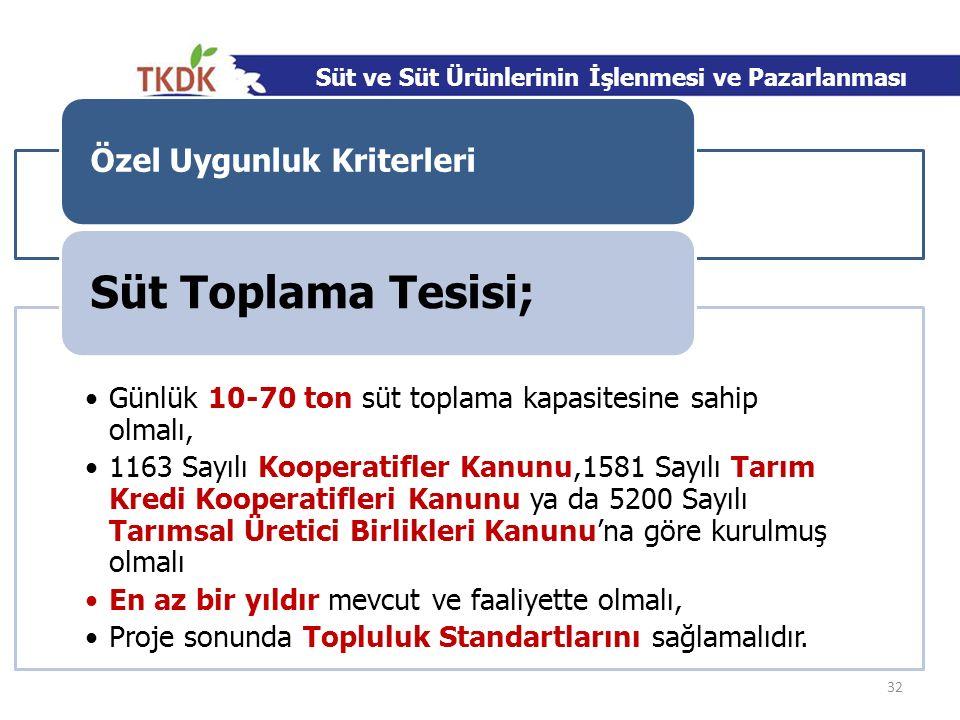 Özel Uygunluk Kriterleri Günlük 10-70 ton süt toplama kapasitesine sahip olmalı, 1163 Sayılı Kooperatifler Kanunu,1581 Sayılı Tarım Kredi Kooperatifle