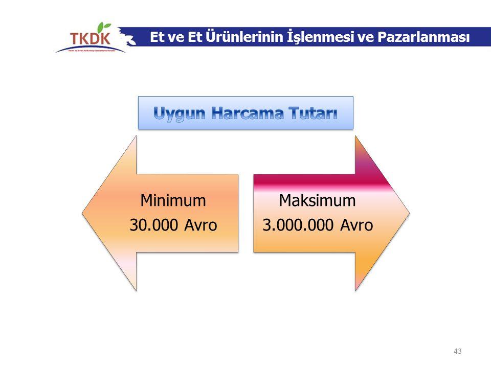 Et ve Et Ürünlerinin İşlenmesi ve Pazarlanması Minimum 30.000 Avro Maksimum 3.000.000 Avro 43