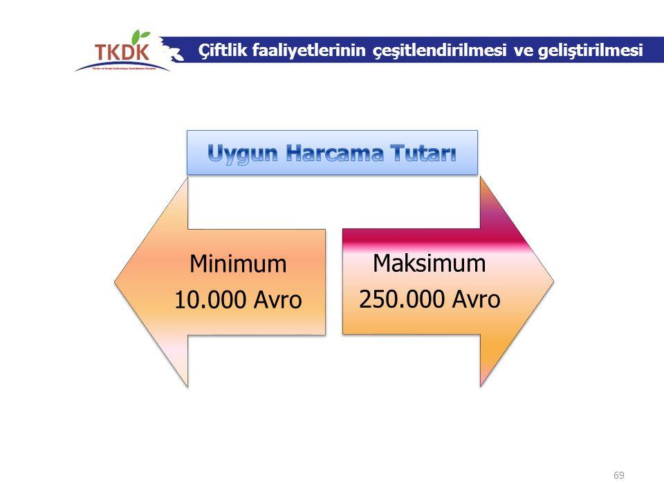 Çiftlik faaliyetlerinin çeşitlendirilmesi ve geliştirilmesi Minimum 10.000 Avro Maksimum 250.000 Avro 69