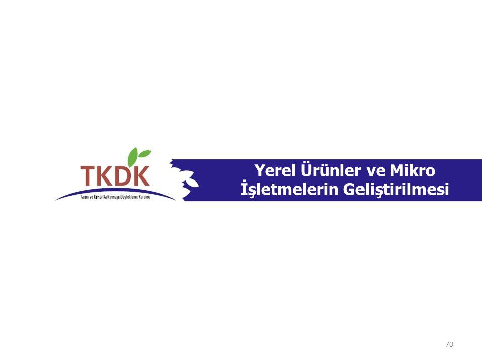 Yerel Ürünler ve Mikro İşletmelerin Geliştirilmesi Özel Uygunluk Kriterleri Kırsal alanlarda yer almalı, Yerel gıda ürünlerinin üretimi ve/veya paketlenmesi söz konusu ise 5179 sayılı Gıda Kanunu ve 5393 sayılı Belediye Kanunu gereği olan sertifikalara sahip olmalı (Yeni kurulacak ise, proje sonunda bu sertifikalara sahip olmayı taahhüt etmek), IPARD Programında verilen uygun yerel el sanatları veya yerel tarım ve gıda ürünlerini seçmiş olmalı,uygun yerel el sanatları AB'ye ihracat numarasına sahip olmamalı, İşletme, 71