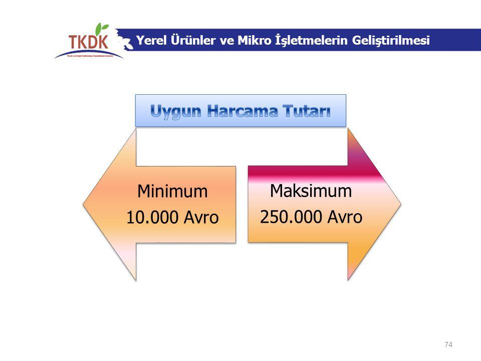 Yerel Ürünler ve Mikro İşletmelerin Geliştirilmesi Minimum 10.000 Avro Maksimum 250.000 Avro 74