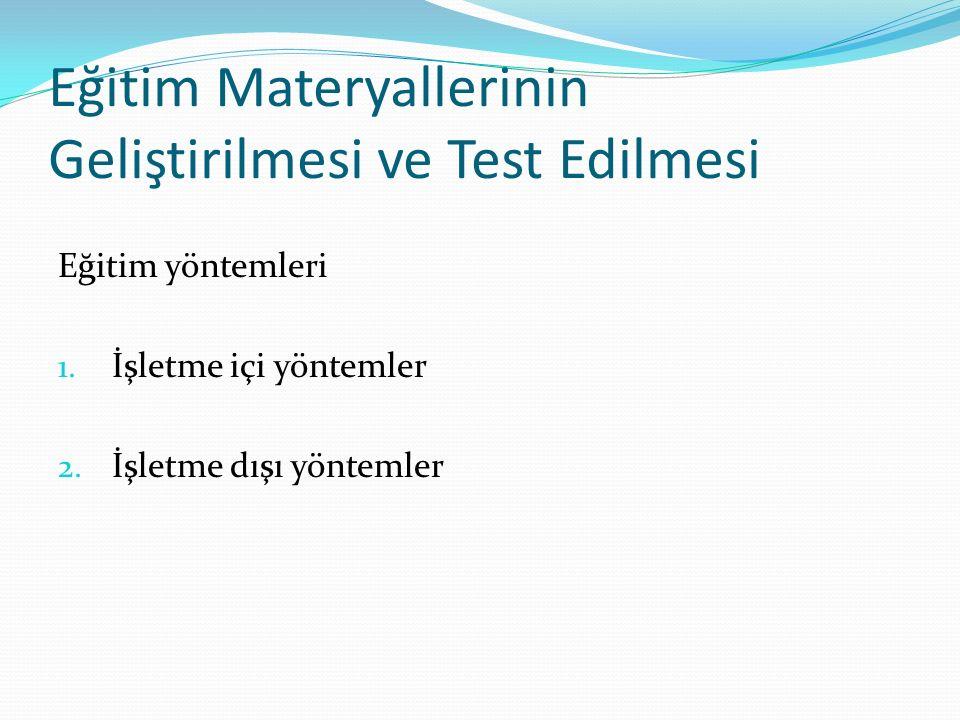 Eğitim Materyallerinin Geliştirilmesi ve Test Edilmesi Eğitim yöntemleri 1.