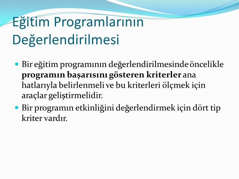 Eğitim Programlarının Değerlendirilmesi Bir eğitim programının değerlendirilmesinde öncelikle programın başarısını gösteren kriterler ana hatlarıyla belirlenmeli ve bu kriterleri ölçmek için araçlar geliştirmelidir.
