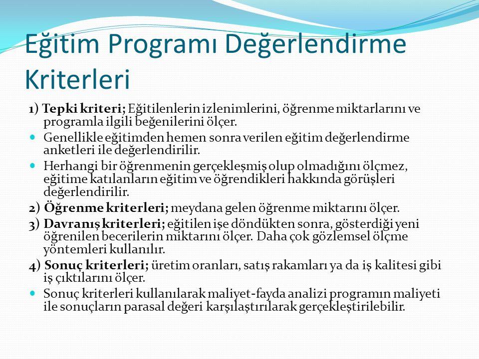Eğitim Programı Değerlendirme Kriterleri 1) Tepki kriteri; Eğitilenlerin izlenimlerini, öğrenme miktarlarını ve programla ilgili beğenilerini ölçer.