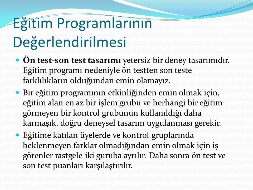 Eğitim Programlarının Değerlendirilmesi Ön test-son test tasarımı yetersiz bir deney tasarımıdır.