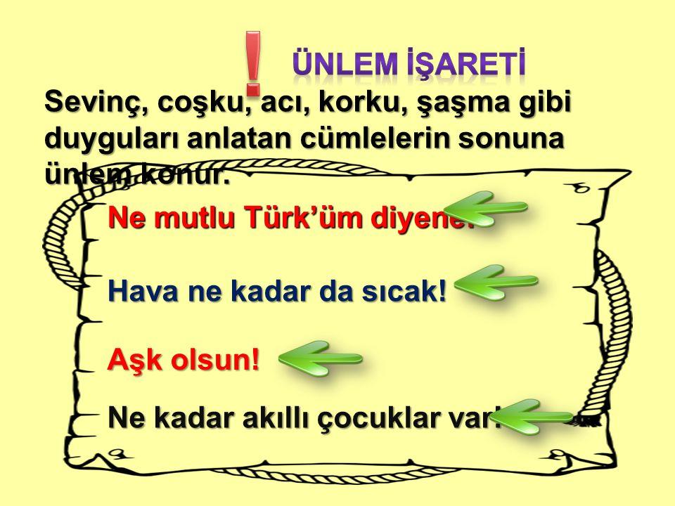 Sevinç, coşku, acı, korku, şaşma gibi duyguları anlatan cümlelerin sonuna ünlem konur. Ne mutlu Türk'üm diyene! Hava ne kadar da sıcak! Aşk olsun! Ne