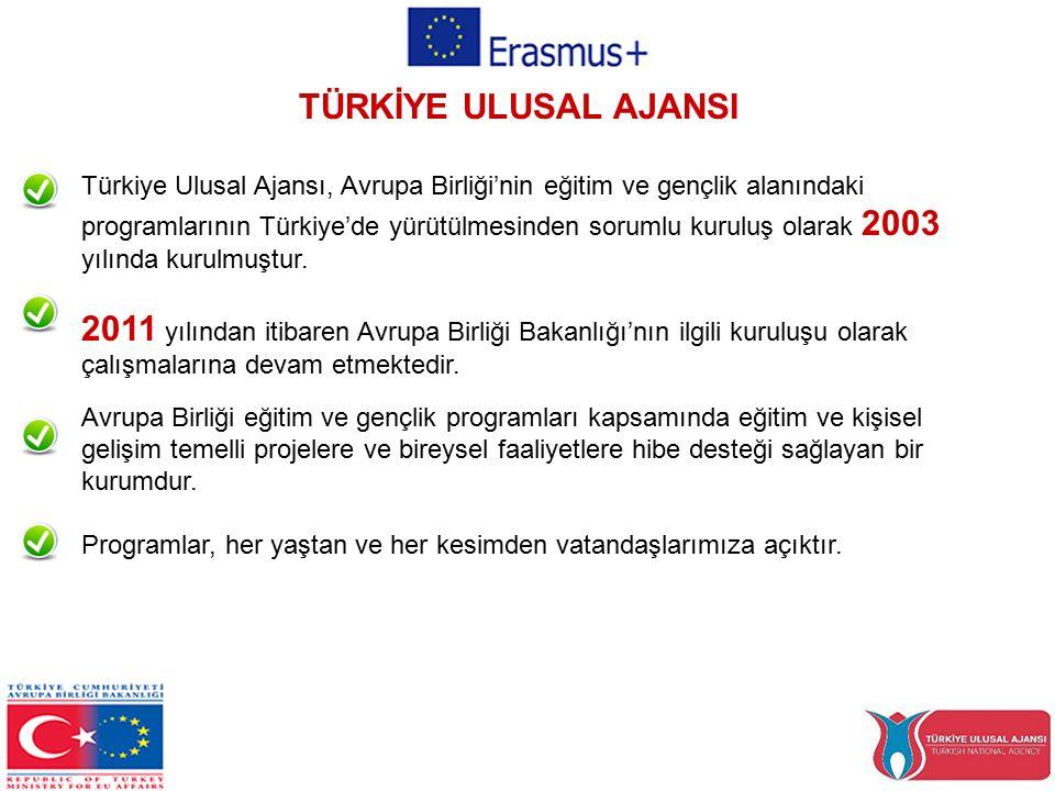 TÜRKİYE ULUSAL AJANSI Türkiye Ulusal Ajansı, Avrupa Birliği'nin eğitim ve gençlik alanındaki programlarının Türkiye'de yürütülmesinden sorumlu kuruluş olarak 2003 yılında kurulmuştur.