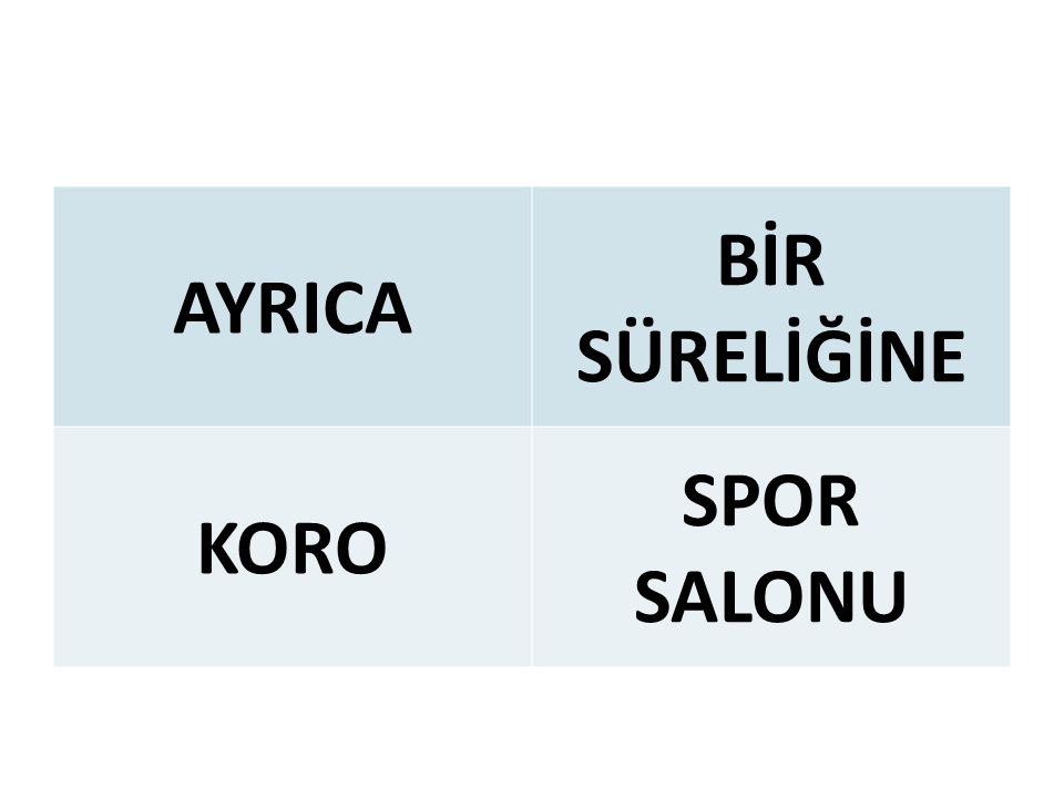 AYRICA BİR SÜRELİĞİNE KORO SPOR SALONU