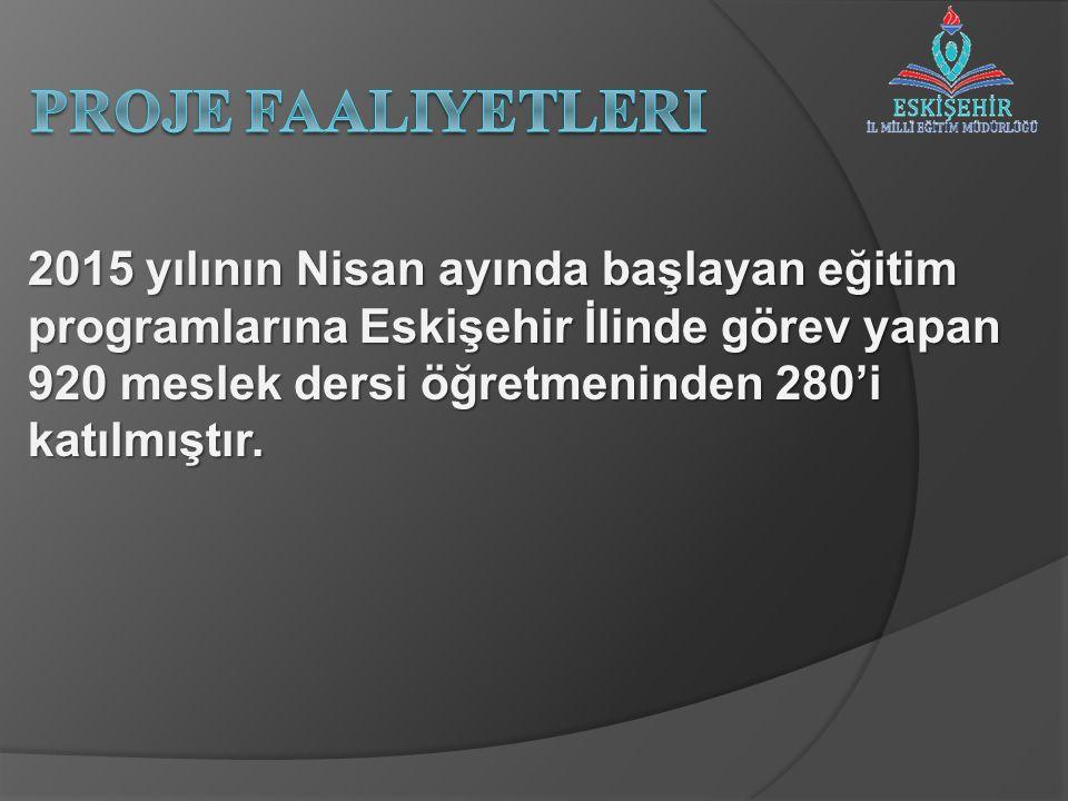 2015 yılının Nisan ayında başlayan eğitim programlarına Eskişehir İlinde görev yapan 920 meslek dersi öğretmeninden 280'i katılmıştır.