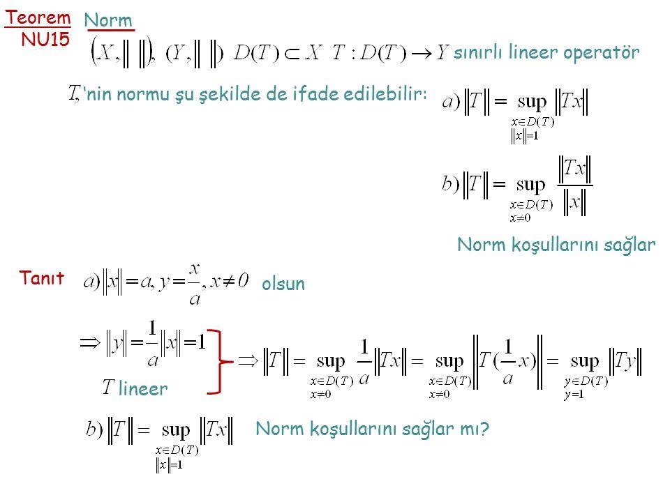 Teorem NU15 Norm sınırlı lineer operatör 'nin normu şu şekilde de ifade edilebilir: Norm koşullarını sağlar Tanıt olsun lineer Norm koşullarını sağlar mı