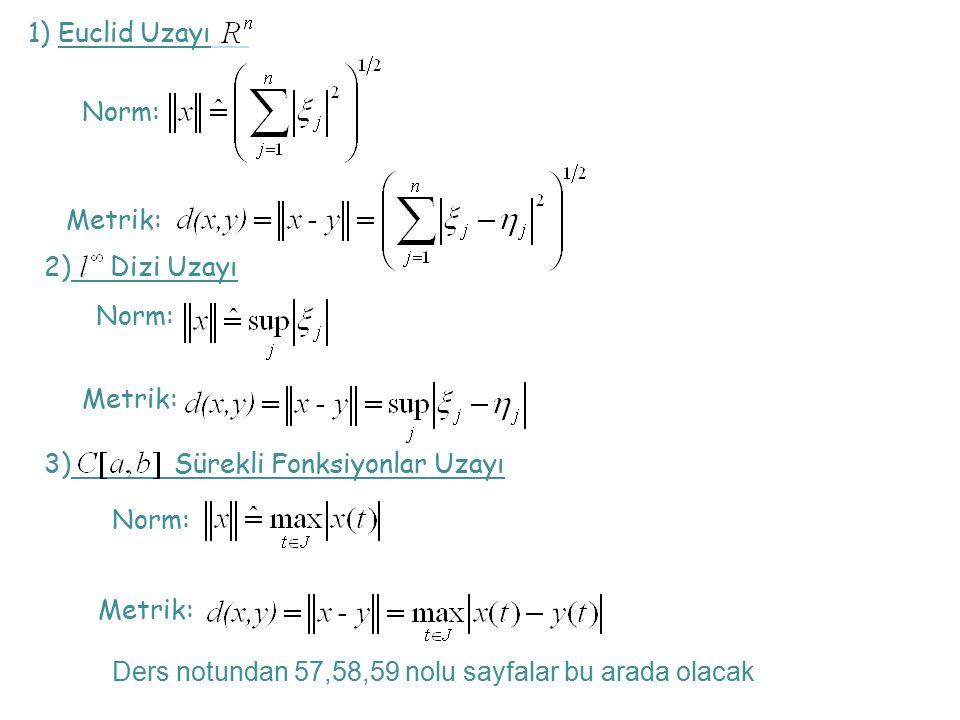 1) Euclid Uzayı Norm: Metrik: 2) Dizi Uzayı Norm: Metrik: 3) Sürekli Fonksiyonlar Uzayı Norm: Metrik: Ders notundan 57,58,59 nolu sayfalar bu arada olacak