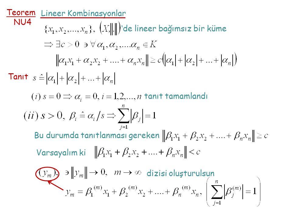 Teorem NU4 Lineer Kombinasyonlar 'de lineer bağımsız bir küme Tanıt tanıt tamamlandı Bu durumda tanıtlanması gereken Varsayalım ki dizisi oluşturulsun