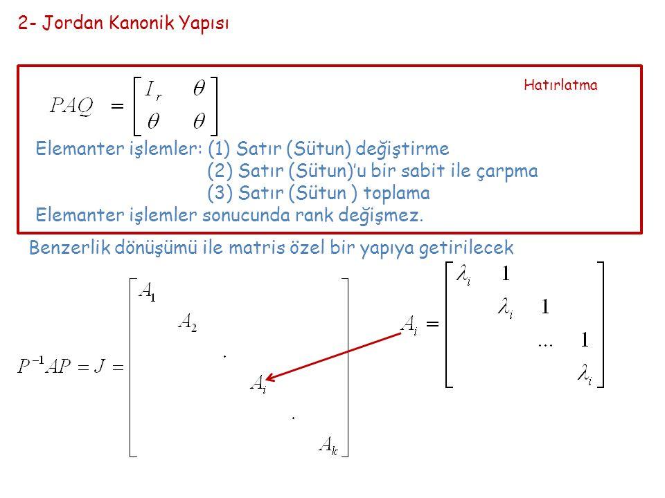 2- Jordan Kanonik Yapısı Elemanter işlemler: (1) Satır (Sütun) değiştirme (2) Satır (Sütun)'u bir sabit ile çarpma (3) Satır (Sütun ) toplama Elemanter işlemler sonucunda rank değişmez.
