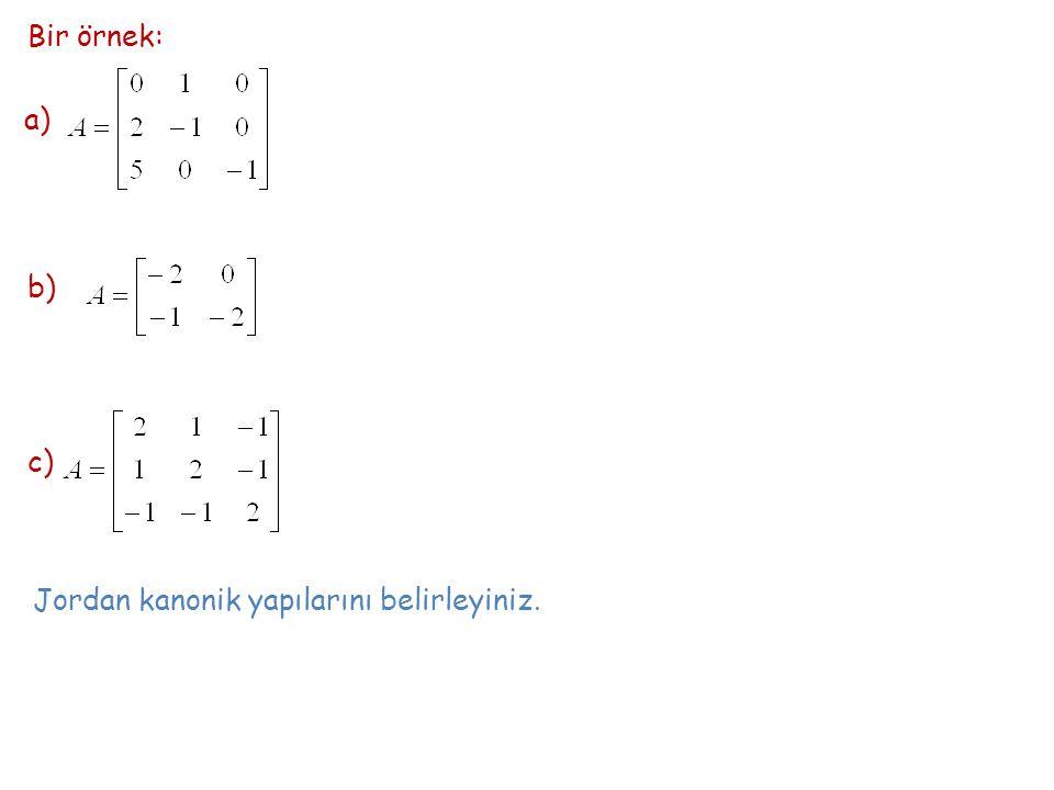 Bir örnek: a) b) c) Jordan kanonik yapılarını belirleyiniz.