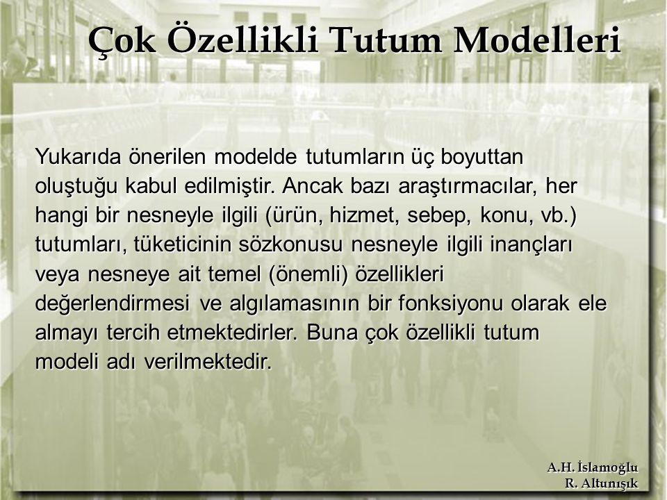 A.H. İslamoğlu R. Altunışık Çok Özellikli Tutum Modelleri Yukarıda önerilen modelde tutumların üç boyuttan oluştuğu kabul edilmiştir. Ancak bazı araşt