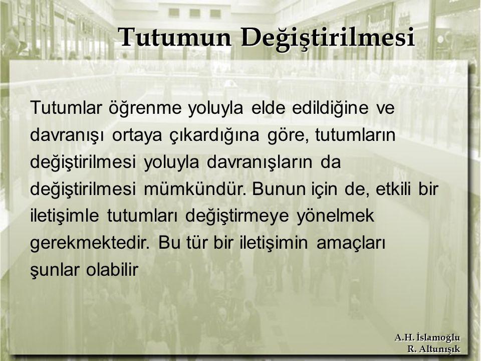 A.H. İslamoğlu R. Altunışık Tutumun Değiştirilmesi Tutumlar öğrenme yoluyla elde edildiğine ve davranışı ortaya çıkardığına göre, tutumların değiştiri