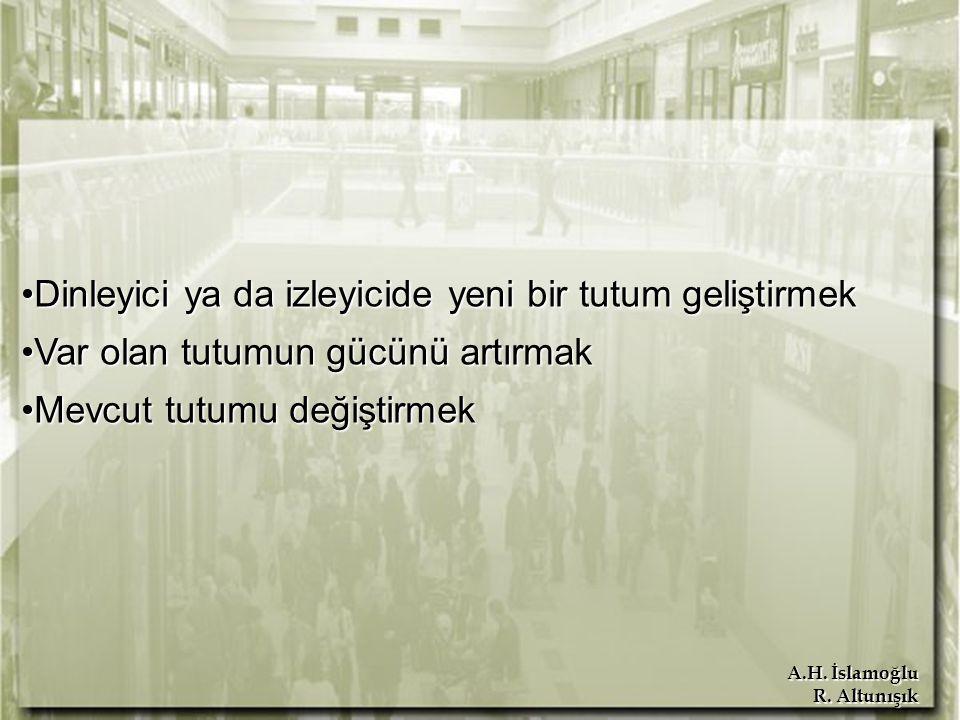 A.H. İslamoğlu R. Altunışık Dinleyici ya da izleyicide yeni bir tutum geliştirmekDinleyici ya da izleyicide yeni bir tutum geliştirmek Var olan tutumu