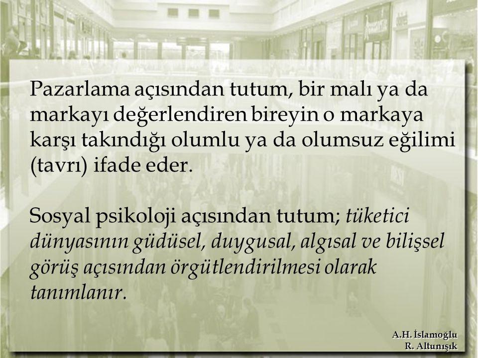 A.H. İslamoğlu R. Altunışık Pazarlama açısından tutum, bir malı ya da markayı değerlendiren bireyin o markaya karşı takındığı olumlu ya da olumsuz eği