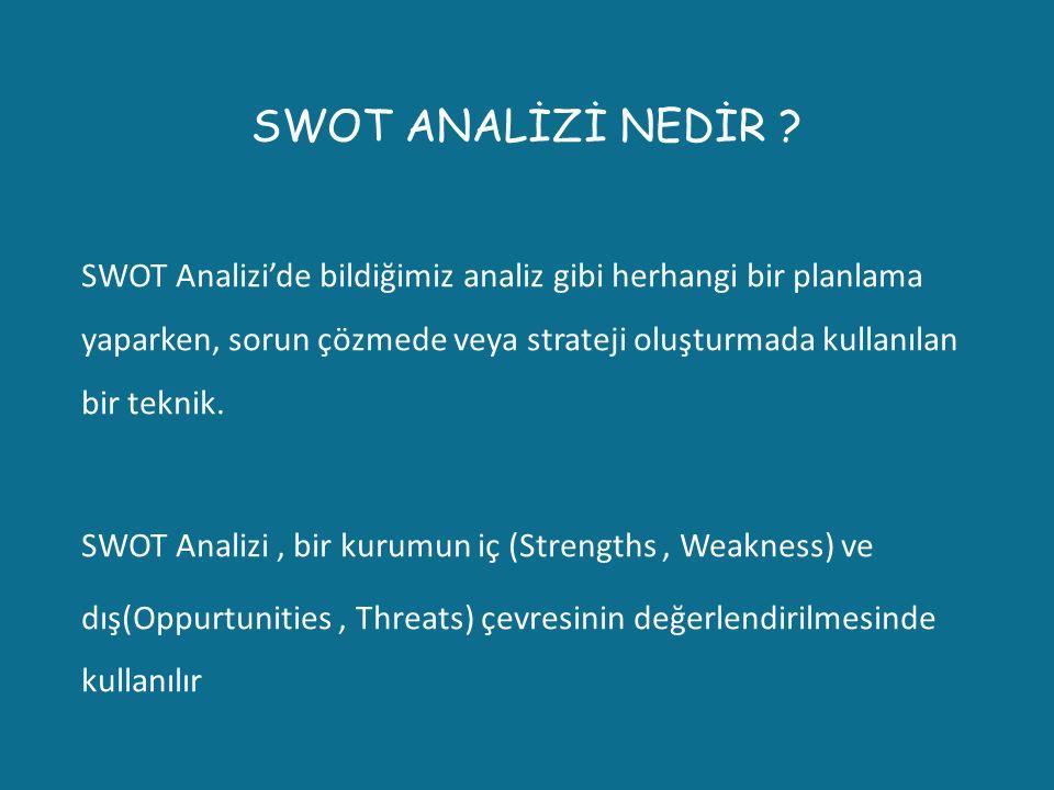 SWOT ANALİZİ NEDİR ? SWOT Analizi'de bildiğimiz analiz gibi herhangi bir planlama yaparken, sorun çözmede veya strateji oluşturmada kullanılan bir tek