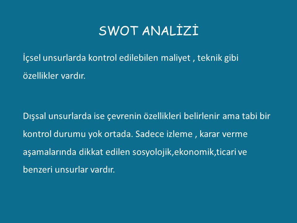 SWOT ANALİZİ İçsel unsurlarda kontrol edilebilen maliyet, teknik gibi özellikler vardır. Dışsal unsurlarda ise çevrenin özellikleri belirlenir ama tab