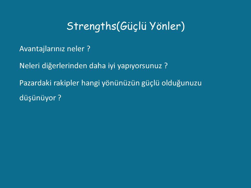 Strengths(Güçlü Yönler) Avantajlarınız neler ? Neleri diğerlerinden daha iyi yapıyorsunuz ? Pazardaki rakipler hangi yönünüzün güçlü olduğunuzu düşünü