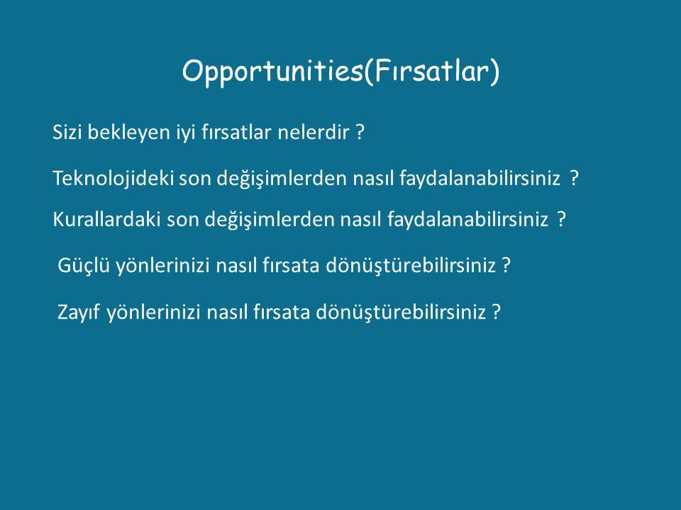 Opportunities(Fırsatlar) Sizi bekleyen iyi fırsatlar nelerdir ? Teknolojideki son değişimlerden nasıl faydalanabilirsiniz ? Kurallardaki son değişimle