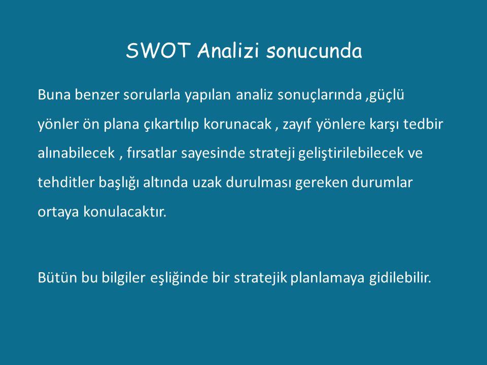 SWOT Analizi sonucunda Buna benzer sorularla yapılan analiz sonuçlarında,güçlü yönler ön plana çıkartılıp korunacak, zayıf yönlere karşı tedbir alınab