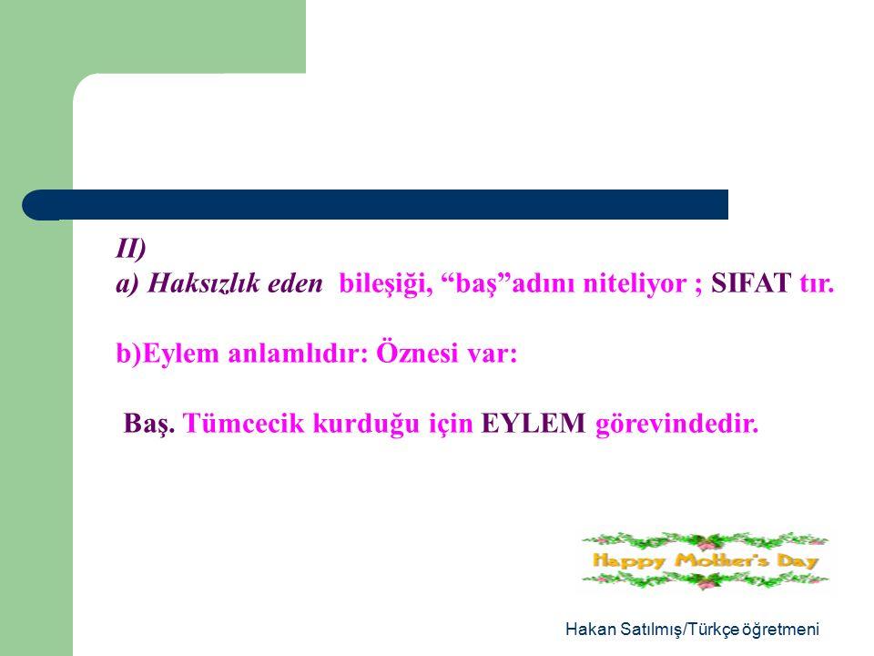 Hakan Satılmış/Türkçe öğretmeni Bu cümlelerin her birinde eylem soyundan ikişer sözcük var.