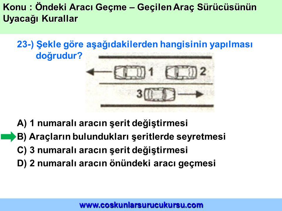 23-) Şekle göre aşağıdakilerden hangisinin yapılması doğrudur? A) 1 numaralı aracın şerit değiştirmesi B) Araçların bulundukları şeritlerde seyretmesi
