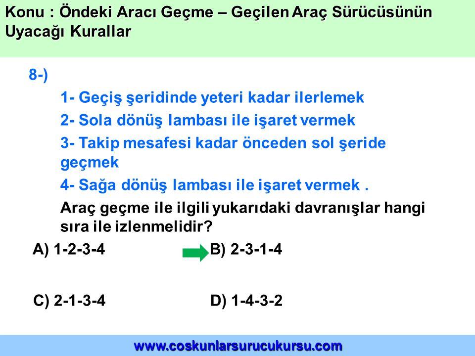 19-) Şekildeki geçme işlemi ile ilgili olarak aşağıdakilerden hangisi söylenebilir.