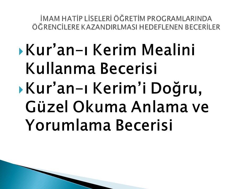  Kur'an-ı Kerim Mealini Kullanma Becerisi  Kur'an-ı Kerim'i Doğru, Güzel Okuma Anlama ve Yorumlama Becerisi