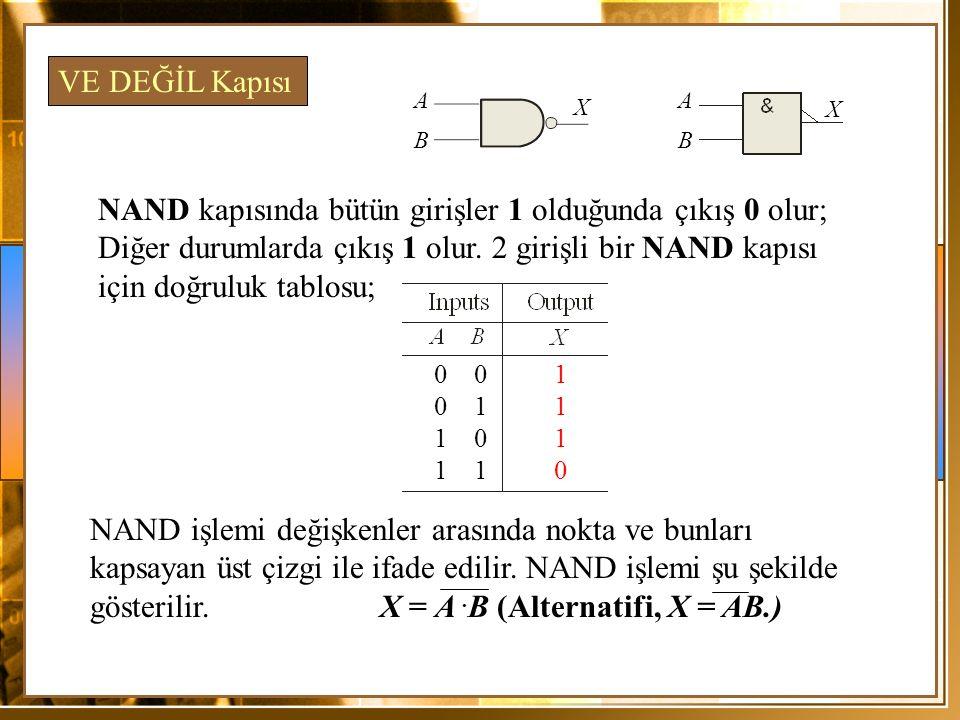 NAND kapısında bütün girişler 1 olduğunda çıkış 0 olur; Diğer durumlarda çıkış 1 olur. 2 girişli bir NAND kapısı için doğruluk tablosu; VE DEĞİL Kapıs