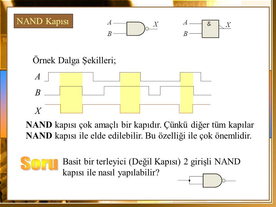 Örnek Dalga Şekilleri; A X NAND kapısı çok amaçlı bir kapıdır. Çünkü diğer tüm kapılar NAND kapısı ile elde edilebilir. Bu özelliği ile çok önemlidir.