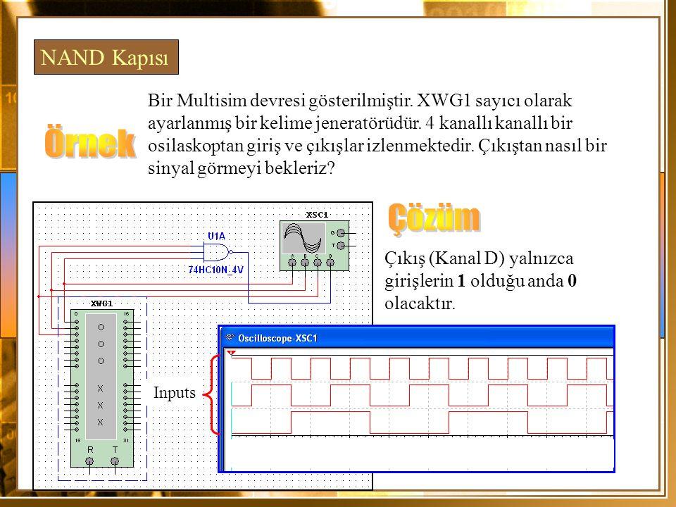NAND Kapısı Bir Multisim devresi gösterilmiştir. XWG1 sayıcı olarak ayarlanmış bir kelime jeneratörüdür. 4 kanallı kanallı bir osilaskoptan giriş ve ç