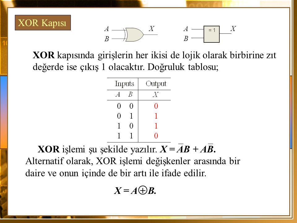 XOR kapısında girişlerin her ikisi de lojik olarak birbirine zıt değerde ise çıkış 1 olacaktır. Doğruluk tablosu; XOR Kapısı 0 0 1 1 0 1 0 1 1 0 A B X
