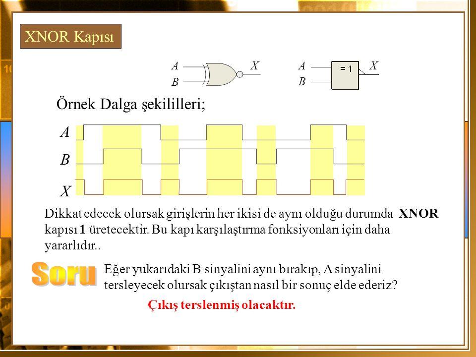 Örnek Dalga şekililleri; A X Dikkat edecek olursak girişlerin her ikisi de aynı olduğu durumda XNOR kapısı 1 üretecektir. Bu kapı karşılaştırma fonksi