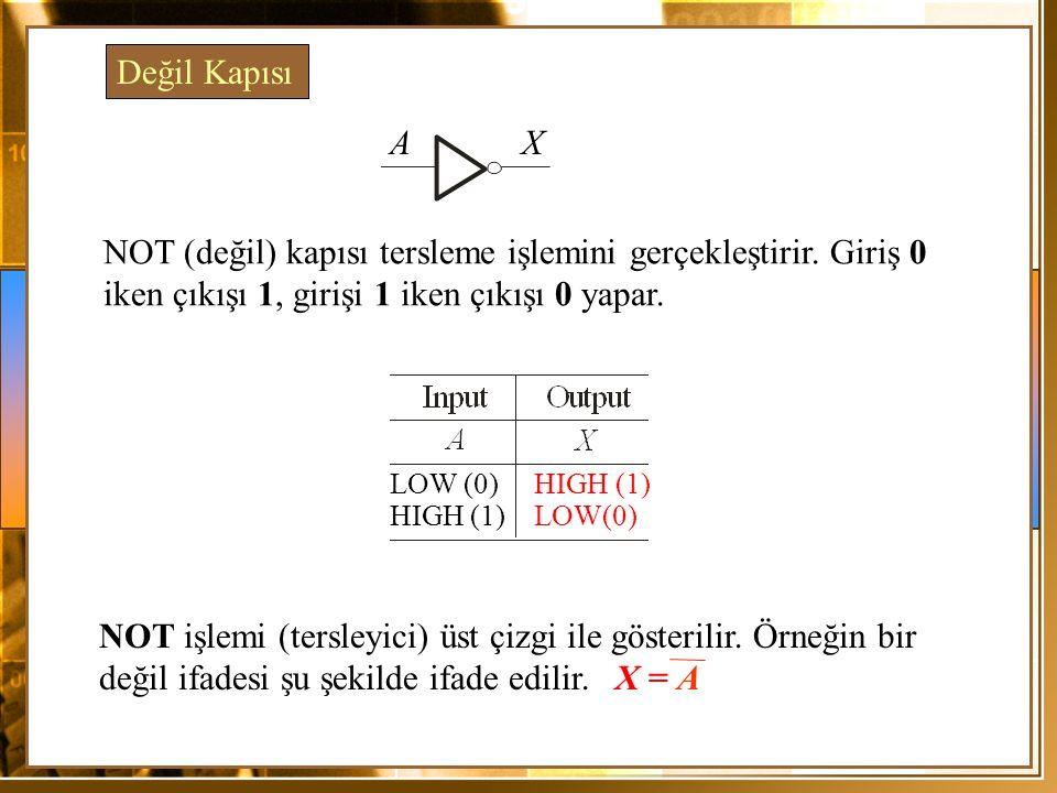 NOT (değil) kapısı tersleme işlemini gerçekleştirir. Giriş 0 iken çıkışı 1, girişi 1 iken çıkışı 0 yapar. Değil Kapısı AX LOW (0) HIGH (1) HIGH (1) LO