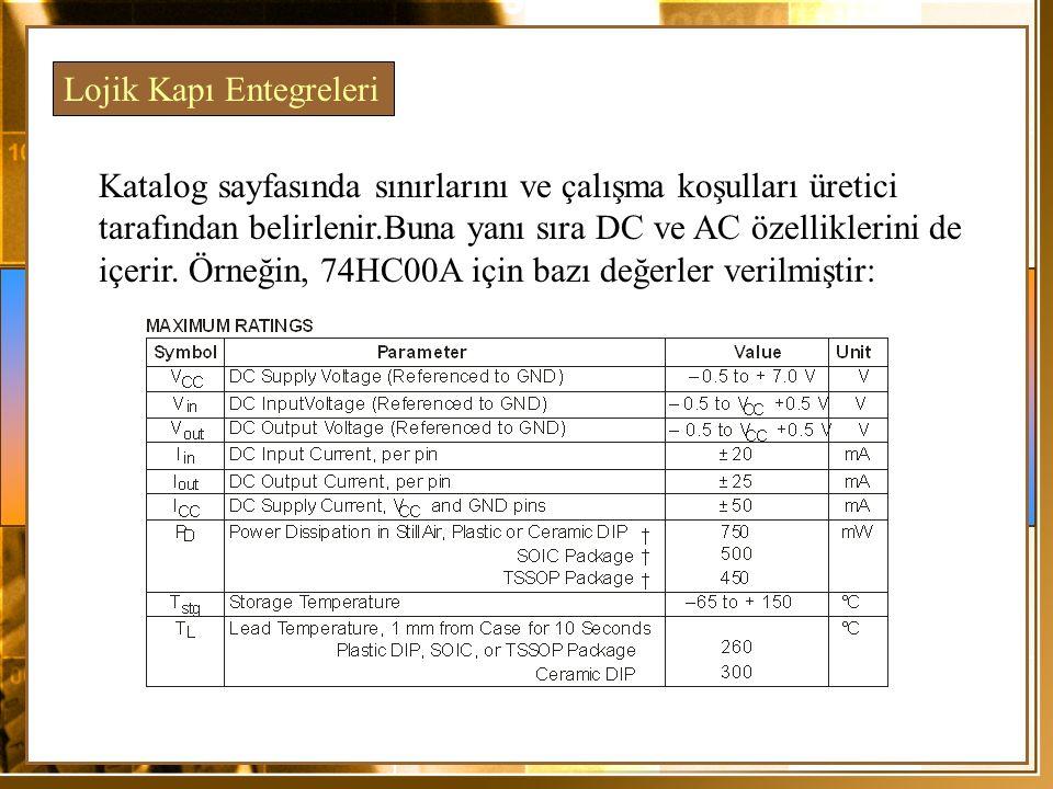 Katalog sayfasında sınırlarını ve çalışma koşulları üretici tarafından belirlenir.Buna yanı sıra DC ve AC özelliklerini de içerir. Örneğin, 74HC00A iç