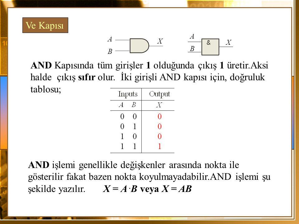 XOR kapısında girişlerin her ikisi de lojik olarak birbirine zıt değerde ise çıkış 1 olacaktır.