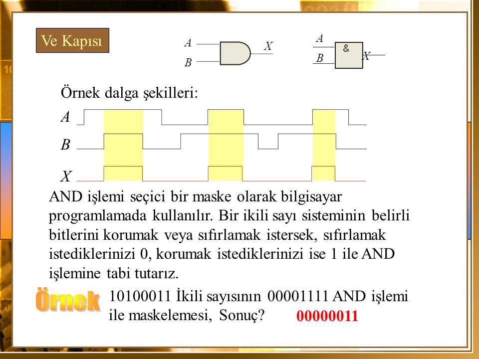 Örnek Dalga Şekilleri; A X Dikkat edecek olursak 2 girişden yalnızca herhangi birinin 1 olması durumunda çıkış 1 üretecektir.