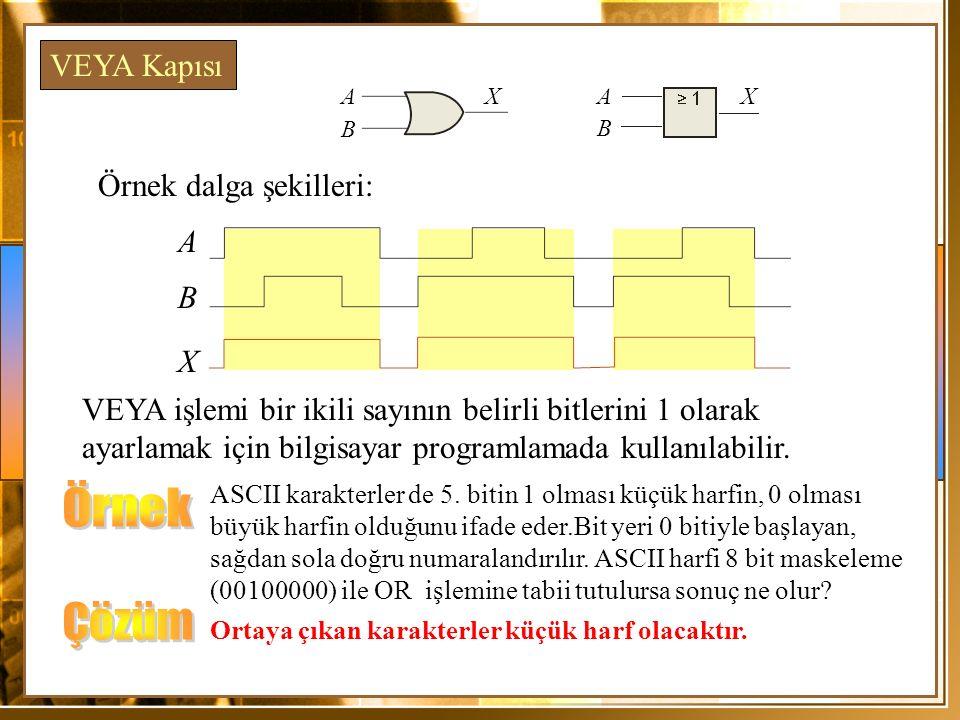 Örnek dalga şekilleri: A X VEYA işlemi bir ikili sayının belirli bitlerini 1 olarak ayarlamak için bilgisayar programlamada kullanılabilir. VEYA Kapıs