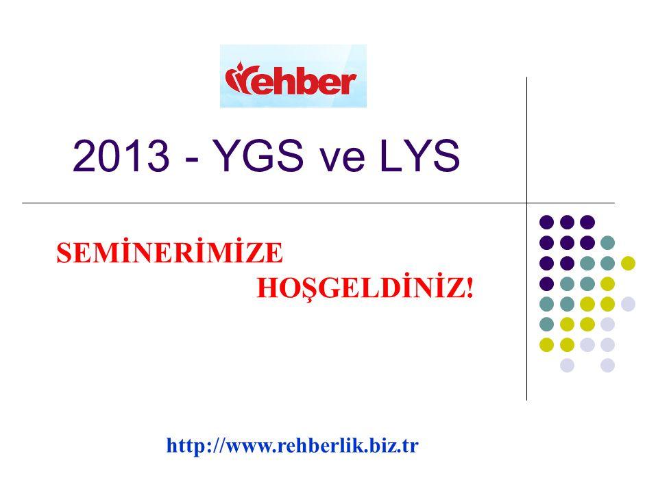 2013 - YGS ve LYS SEMİNERİMİZE HOŞGELDİNİZ! http://www.rehberlik.biz.tr