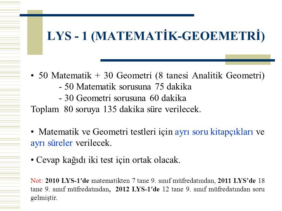 LYS - 1 (MATEMATİK-GEOEMETRİ) 50 Matematik + 30 Geometri (8 tanesi Analitik Geometri) - 50 Matematik sorusuna 75 dakika - 30 Geometri sorusuna 60 daki