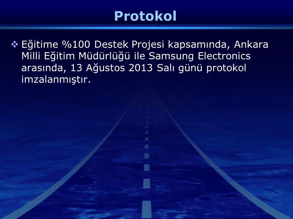 Protokol  Eğitime %100 Destek Projesi kapsamında, Ankara Milli Eğitim Müdürlüğü ile Samsung Electronics arasında, 13 Ağustos 2013 Salı günü protokol imzalanmıştır.