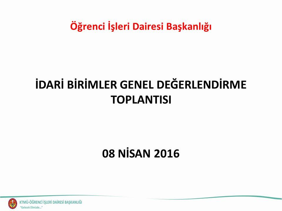 Öğrenci İşleri Dairesi Başkanlığı İDARİ BİRİMLER GENEL DEĞERLENDİRME TOPLANTISI 08 NİSAN 2016